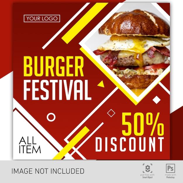 Banner festival de hambúrguer de comida Psd Premium
