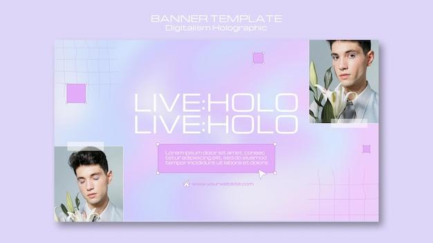 Banner holográfico de holo digitalismo ao vivo Psd grátis
