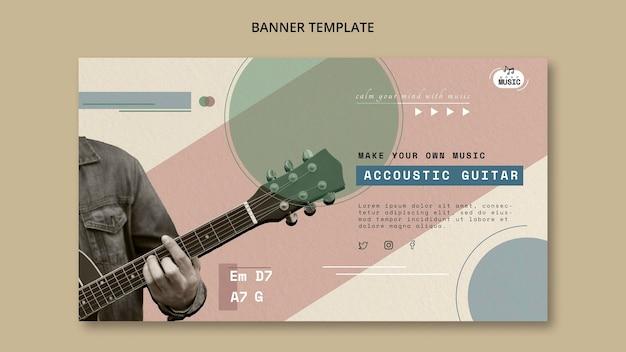 Banner horizontal de aulas de violão Psd grátis