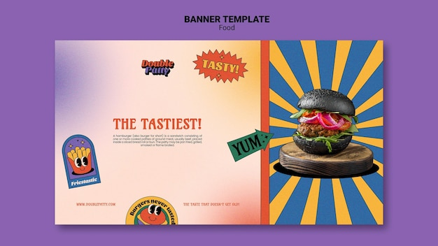 Banner horizontal de comida deliciosa Psd grátis