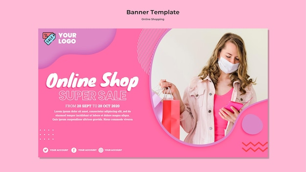 Banner horizontal de compras online Psd grátis