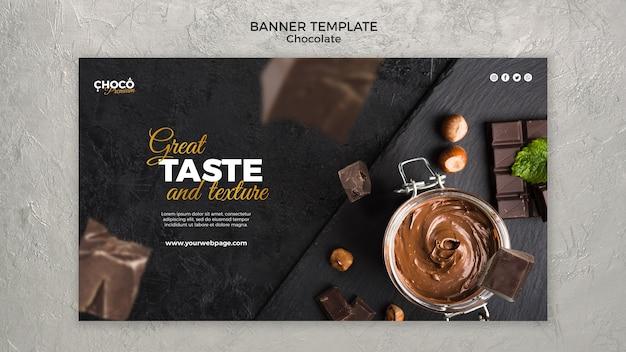 Banner horizontal de conceito de chocolate Psd Premium
