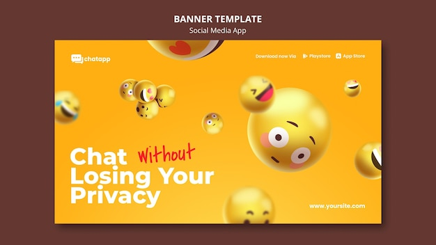 Banner horizontal para aplicativo de bate-papo de mídia social com emojis Psd grátis