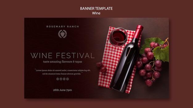 Banner horizontal para degustação de vinhos Psd grátis