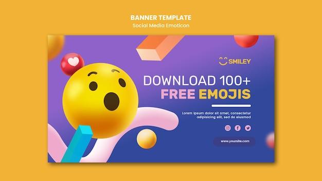 Banner horizontal para emoticons de aplicativos de mídia social Psd grátis