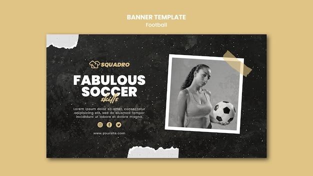 Banner horizontal para jogador de futebol feminino Psd grátis