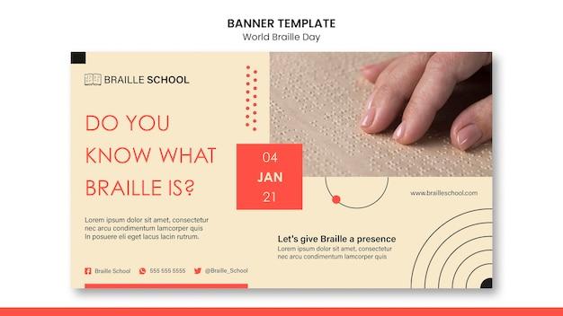 Banner horizontal para o dia mundial do braille Psd grátis