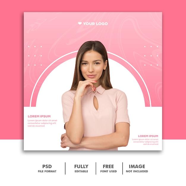 Banner moda valentine post mídia social instagram luxo rosa Psd Premium
