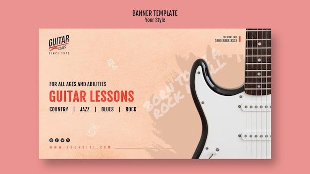 Banner modelo de aulas de guitarra Psd grátis