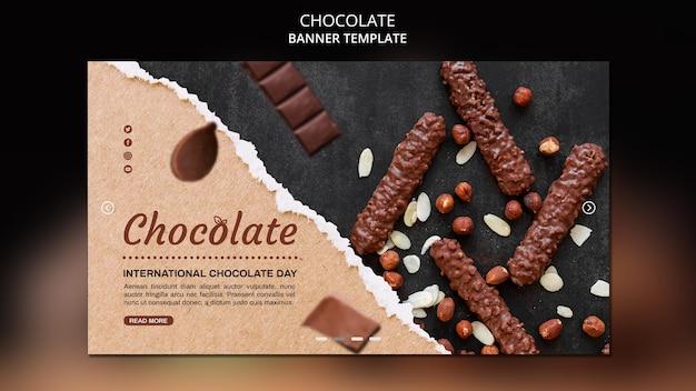 Banner modelo de loja de chocolates Psd grátis
