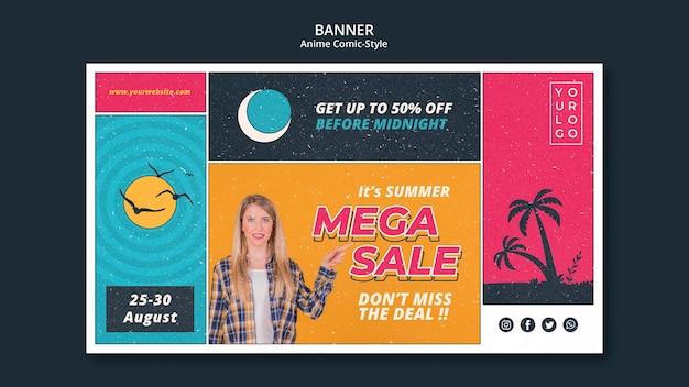 Banner modelo de venda de verão Psd grátis