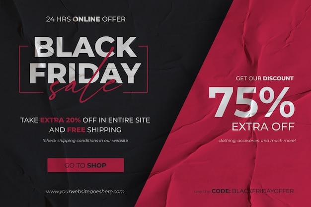Banner preto de venda na sexta-feira com fundo de papel colado vermelho e preto Psd grátis