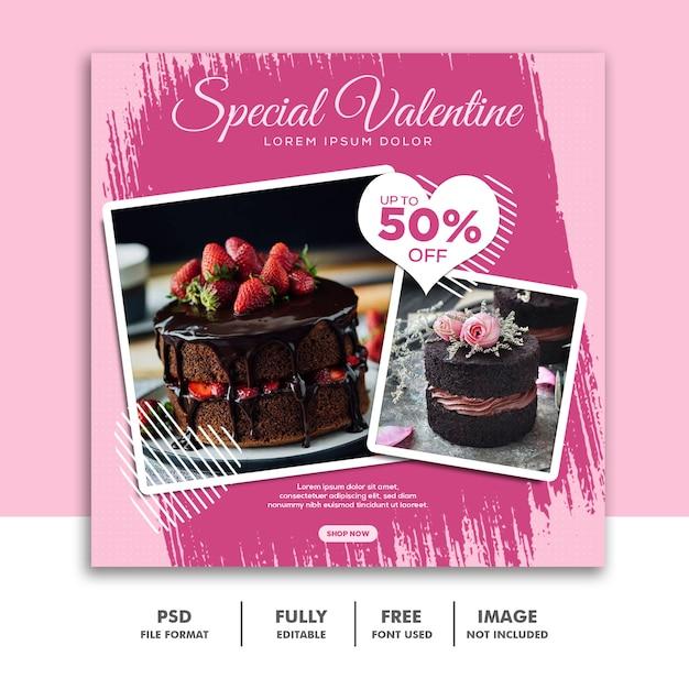 Banner social dos namorados instagram de mídia, escova rosa especial de comida de bolo Psd Premium