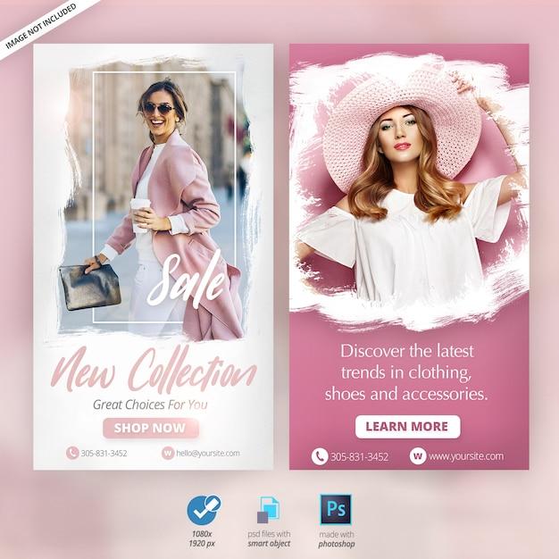 Banners de anúncios de histórias do instagram de moda Psd Premium