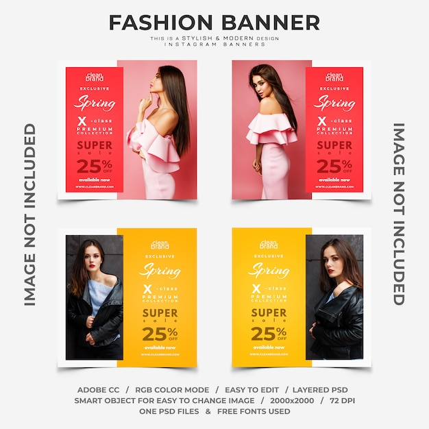 Banners de instagram de descontos de evento de moda Psd Premium