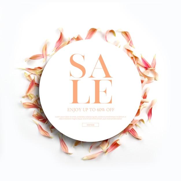 Banners de temporada primavera e quadros, modelo com lindas flores, fundo de convite Psd Premium
