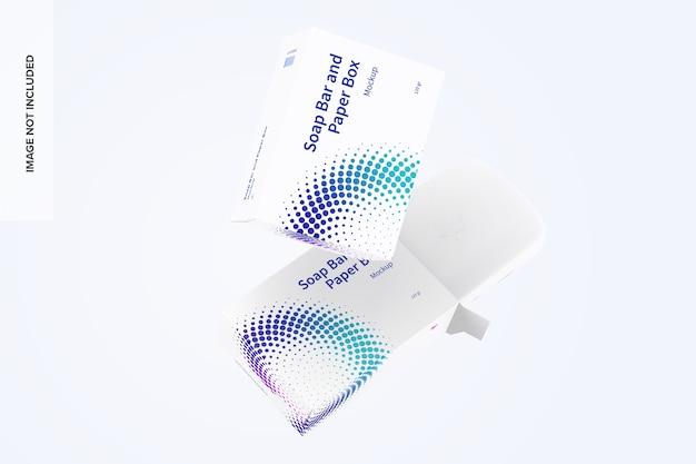 Barra de sabão e maquete de caixas de papel flutuantes Psd Premium