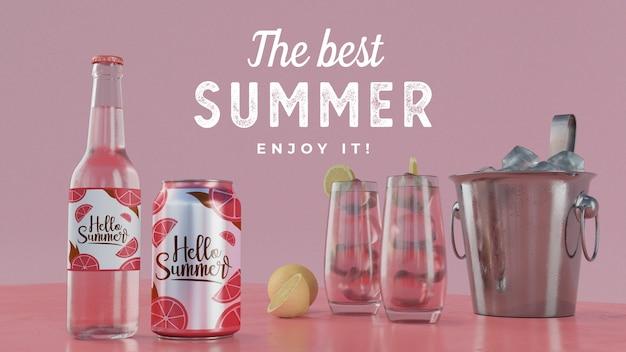 Bebidas de verão na mesa com tipografia Psd grátis
