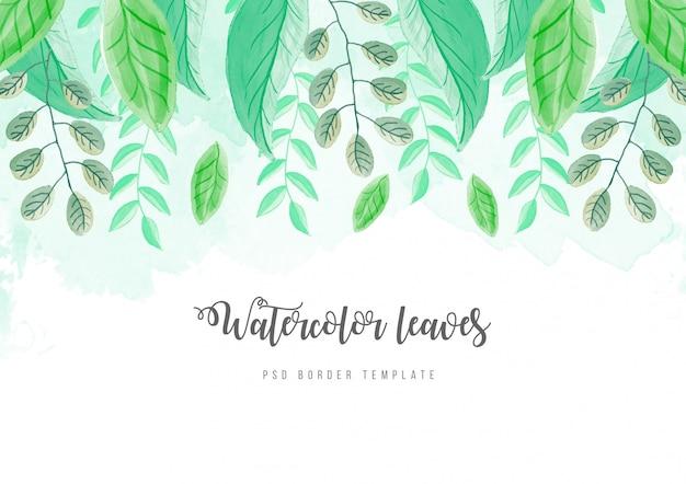 Bela fronteira aquarela com folhas Psd grátis