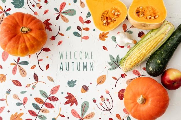 Bem-vindo outono conceito com deliciosos legumes Psd grátis