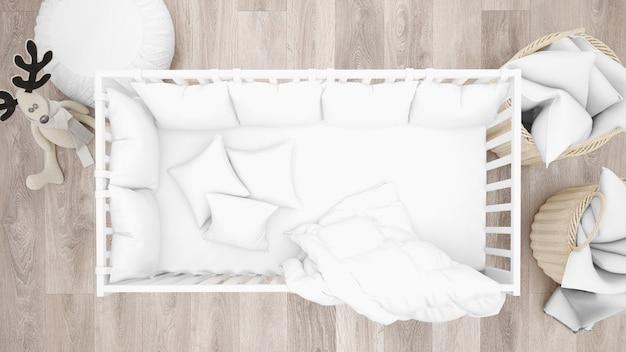 Berço branco no quarto adorável bebê, vista superior Psd grátis
