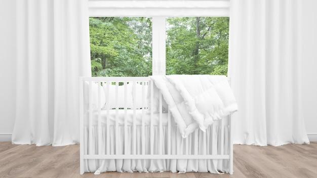 Berço branco no quarto adorável bebê Psd grátis