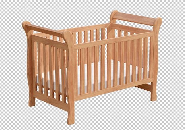 Berço de madeira isolado em renderização 3d Psd Premium
