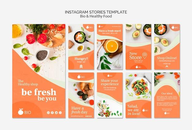 Bio & conceito de comida saudável instagram stries template Psd grátis