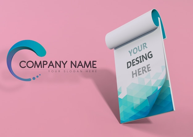 Bloco de notas azul marca empresa mock-up papel Psd Premium