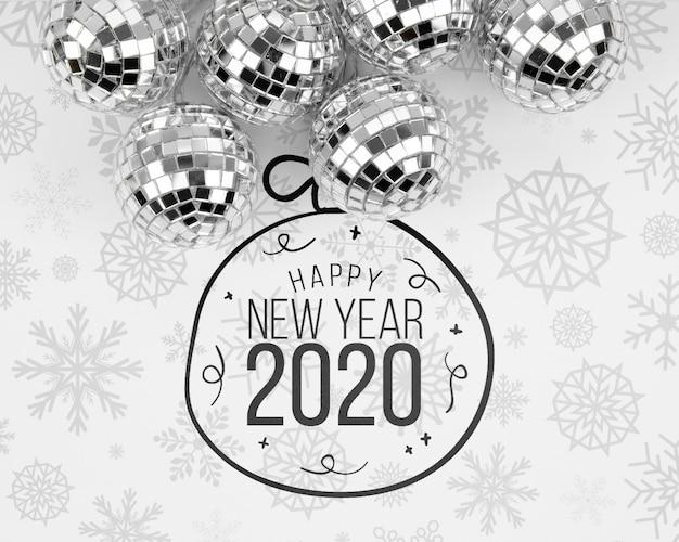 Bolas de natal prata com feliz ano novo 2020 doodle Psd grátis