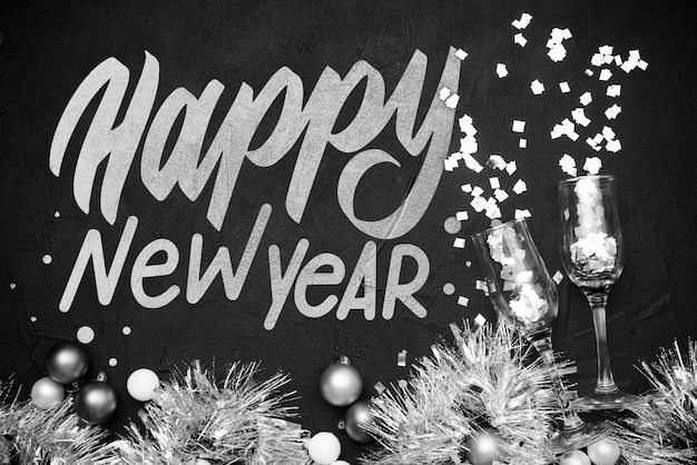 Bolas de ouropel e natal para festa de ano novo Psd grátis