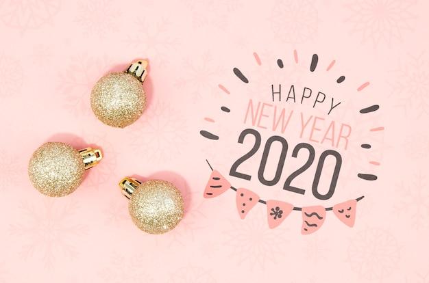 Bonito feliz ano novo 2020 letras] n tons de rosa Psd grátis