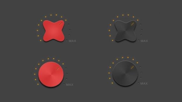 Botão de volume em vermelho e preto Psd grátis