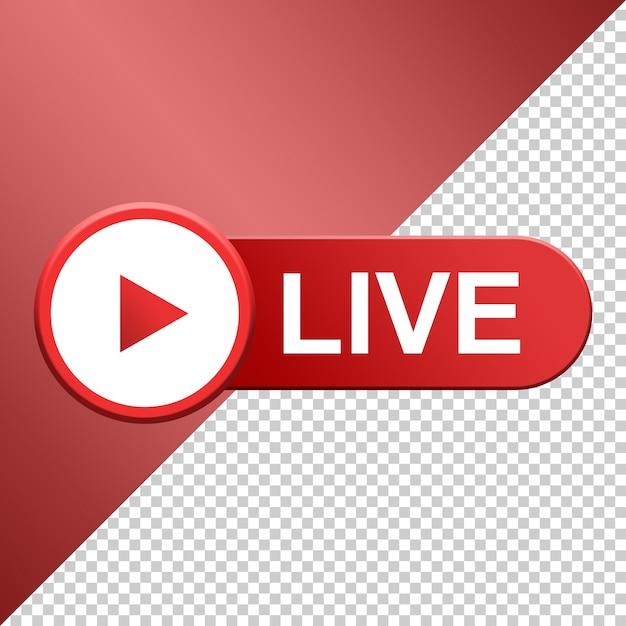 Botão live, mídia social streaming ao vivo 3d Psd Premium