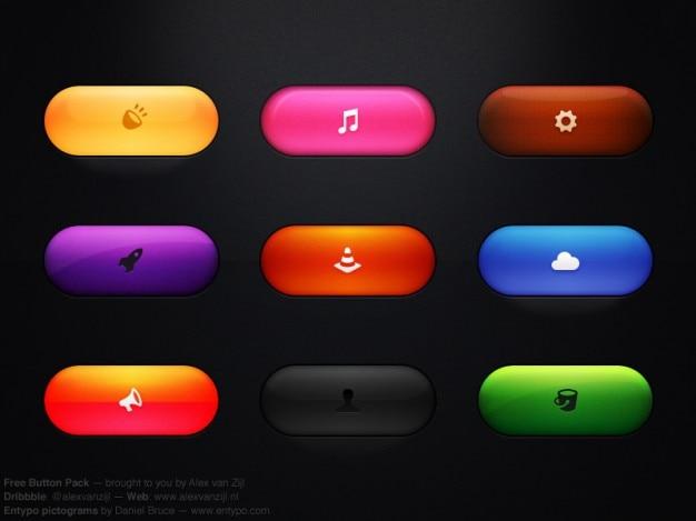 Botões coloridos com ícones psd Psd grátis