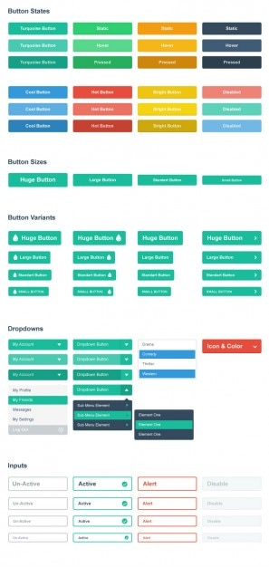 Botões de menu planas e insumos Psd grátis
