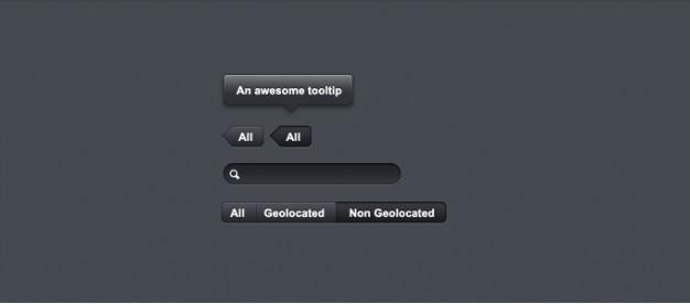 Botões escuro, tooltips, tabs, elementos ui Psd grátis
