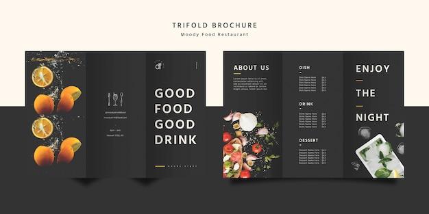 Brochura com três dobras de comida de restaurante Psd grátis