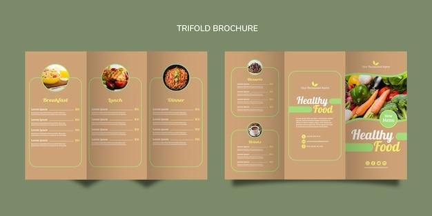 Brochura de alimentos saudáveis bifold Psd grátis