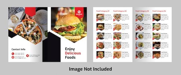 Brochura de menu de comida bifold Psd Premium