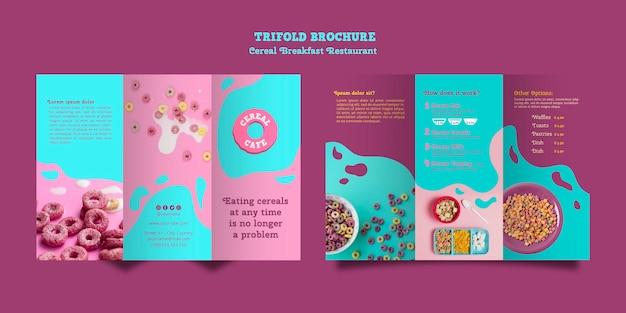 Brochura de restaurante de café da manhã de cereais Psd grátis