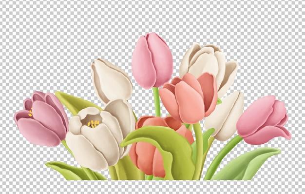 Buquê de tulipas mão ilustrações desenhadas Psd Premium