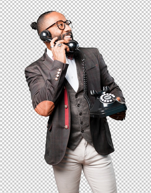 Bussines homem negro falando por telefone Psd Premium
