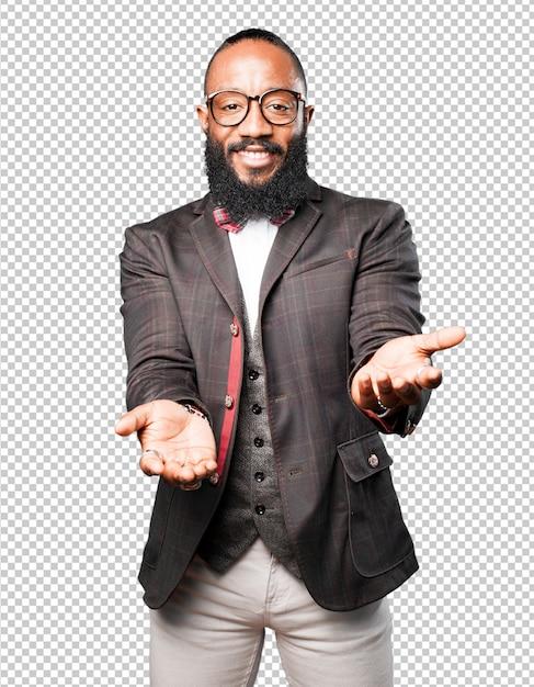 Bussines homem negro oferecendo Psd Premium