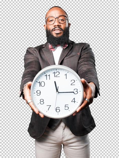 Bussines, homem preto, segurando um grande relógio Psd Premium