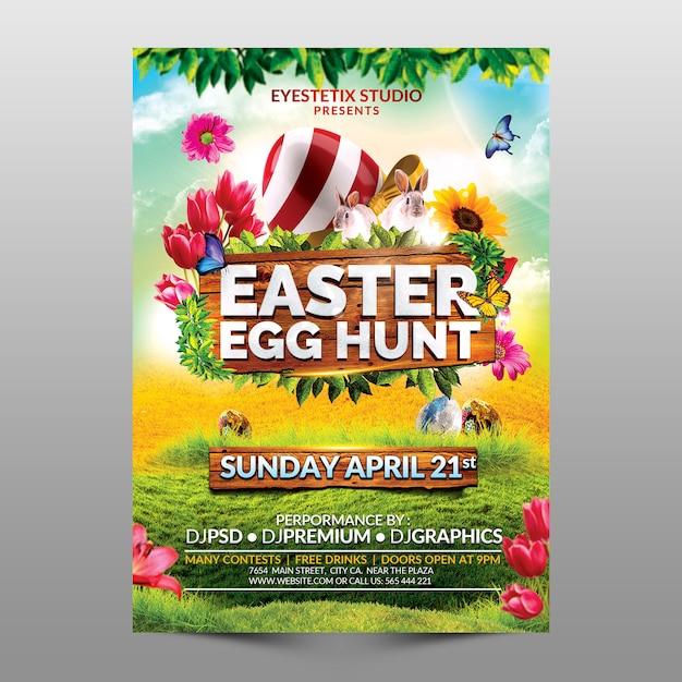 Caça de ovos de páscoa Psd Premium