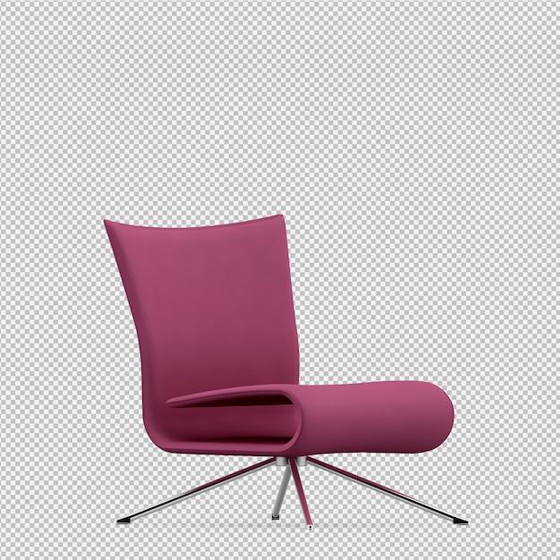 Cadeira isométrica 3d render Psd Premium