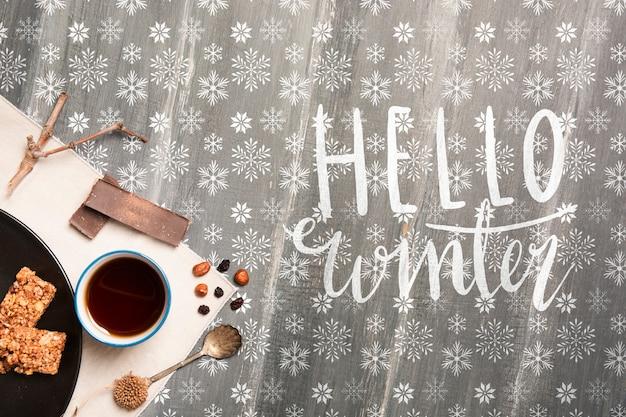 Café da manhã de inverno com mensagem de inverno olá Psd grátis