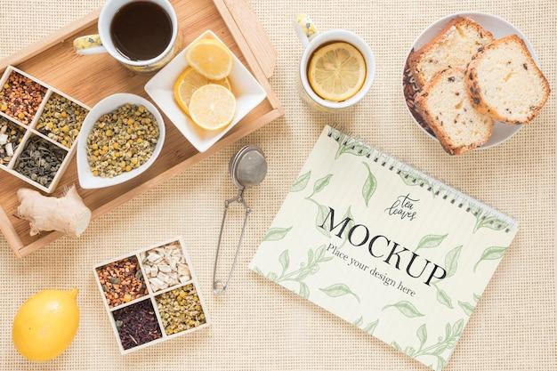 Café da manhã delicioso e vários maquetes de chá Psd Premium