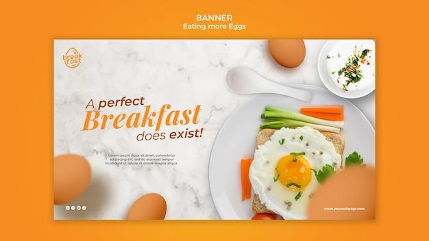 Café da manhã perfeito com modelo de banner de ovos Psd Premium